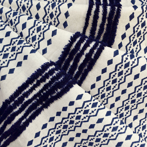 Chenille Stripe Batik Cotton Shirting Cream/Navy