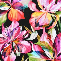 Flora Fantasia Iris Digital Print Cotton Black/Fuchsia - Fabric - Style Maker Fabrics