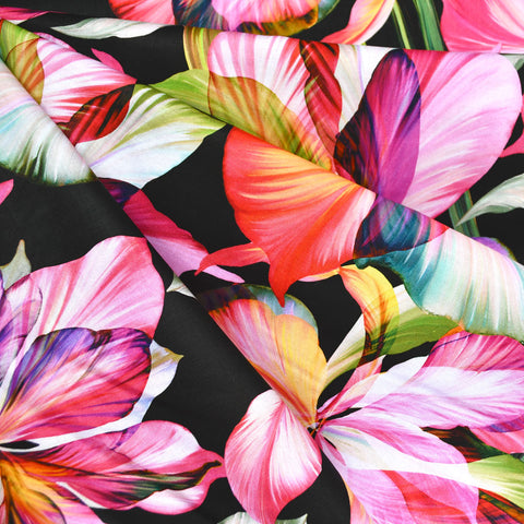 Flora Fantasia Iris Digital Print Cotton Black/Fuchsia