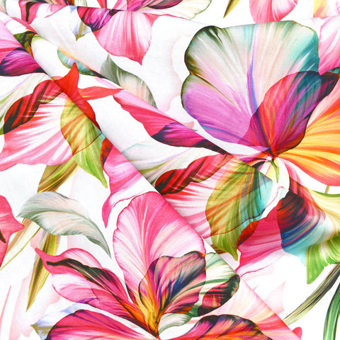 Flora Fantasia Iris Digital Print Cotton White/Fuchsia