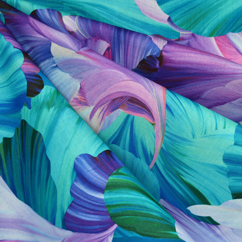 Floral Fantasia Petal Digital Print Cotton Purple/Aqua