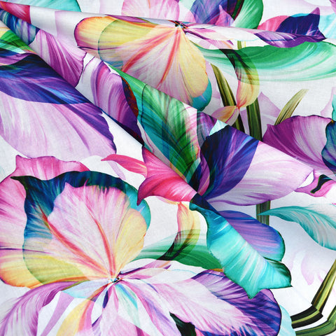 Flora Fantasia Iris Digital Print Cotton White/Purple