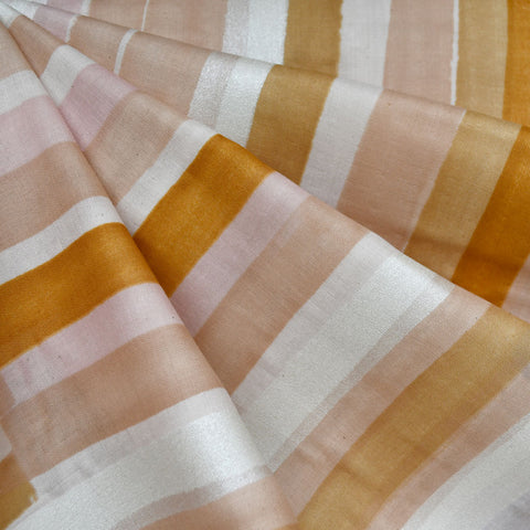 Japanese Nani Iro Grace Watercolor Stripe Double Gauze Peach/Pearl