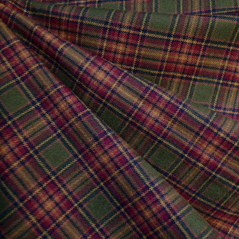Cozy Cotton Flannel Square Plaid Burgundy/Olive