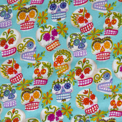 Sugar Skull Snuggly Flannel Aqua/Multi - Fabric - Style Maker Fabrics