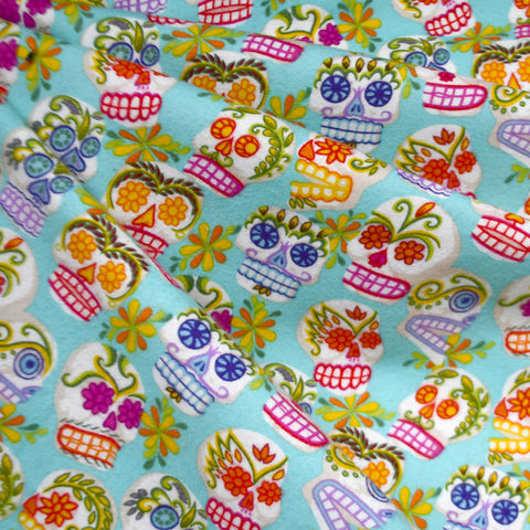 Sugar Skull Snuggly Flannel Aqua/Multi