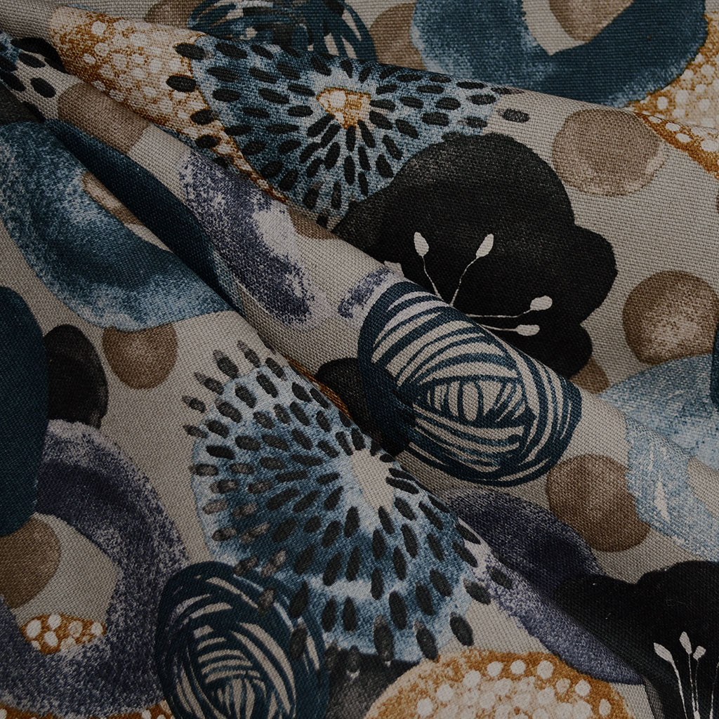Japanese Watercolor Floral Canvas Taupe/Navy - Fabric - Style Maker Fabrics