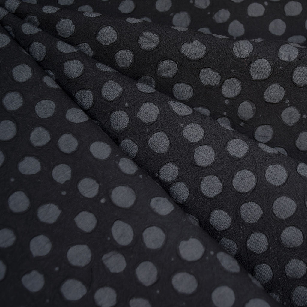 Handcrafted Textured Dot Batik Shirting Black SY - Sold Out - Style Maker Fabrics
