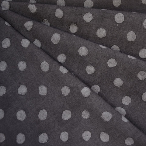 Handcrafted Textured Dot Batik Shirting Charcoal
