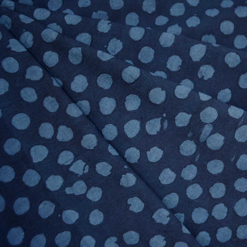 Handcrafted Textured Dot Batik Shirting Navy - Fabric - Style Maker Fabrics