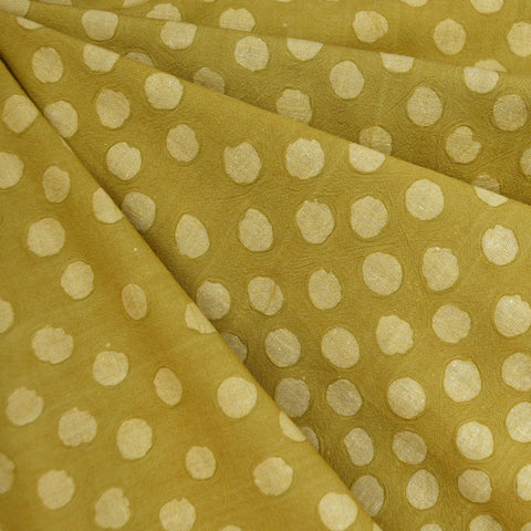 Handcrafted Textured Dot Batik Shirting Citron