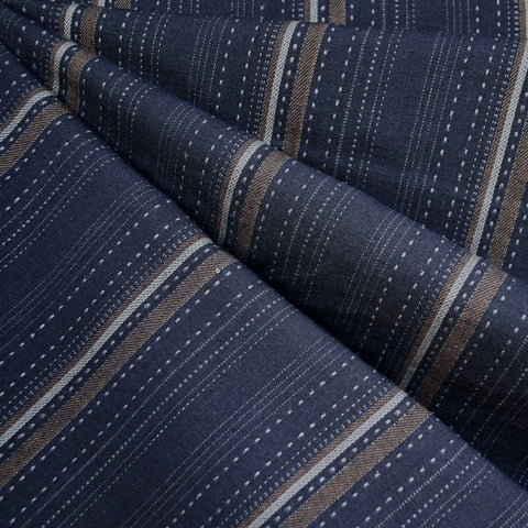 Woven Shirting Wide Stitch Stripe Dark Navy