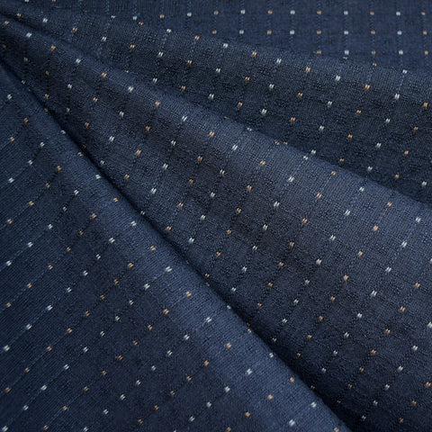 Woven Shirting Dot Stripe Dark Navy