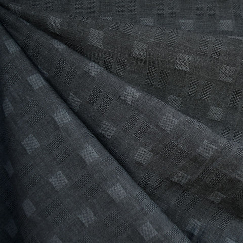 Woven Shirting Checkerboard Texture Charcoal