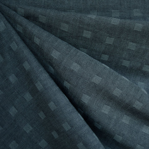 Woven Shirting Checkerboard Texture Dark Teal—Preorder