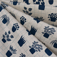 Home House Plant Grid Canvas Navy/Natural - Fabric - Style Maker Fabrics