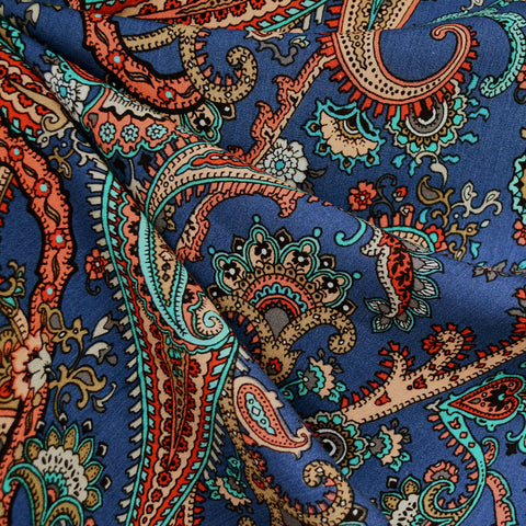 Scrolling Paisley Rayon Crepe Blue/Rust