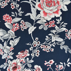 Romantic Vine Floral Rayon Crepe Navy/Rose SY - Sold Out - Style Maker Fabrics