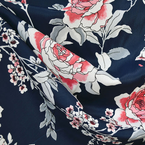 Romantic Vine Floral Rayon Crepe Navy/Rose