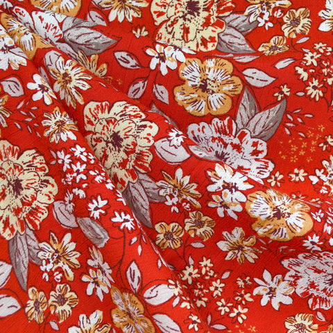 Autumn Floral Outline Rayon Crepe Red/Citrus