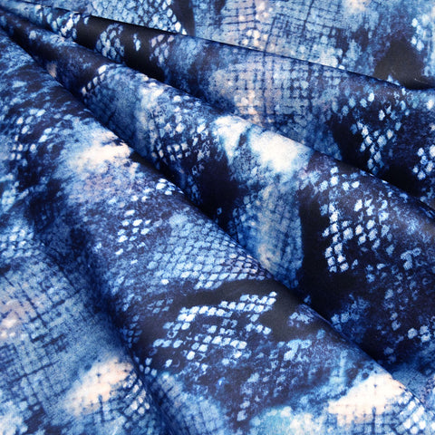 Abstract Snake Print Athletic Scuba Knit Blue