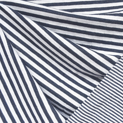 Double Face Jersey Multi Stripe Navy/White