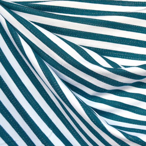 Even Stripe Jersey French Terry Teal/Vanilla
