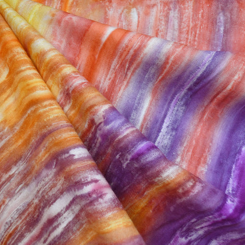 Hand Dyed Rayon Challis Orange/Purple