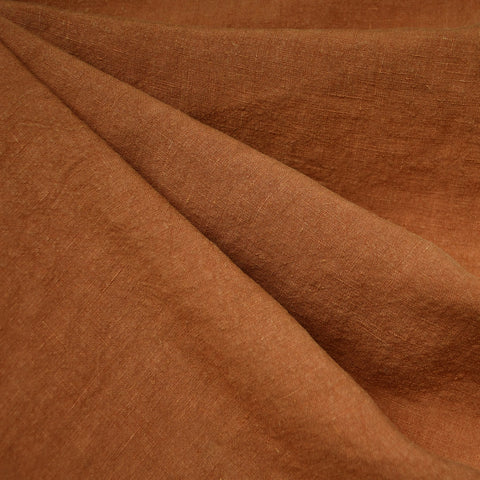 Soft Washed Linen Shirting Solid Rust