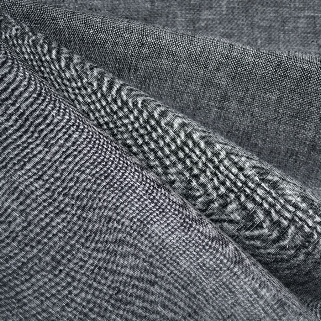 Soft Washed Linen Blend Shirting Black - Fabric - Style Maker Fabrics