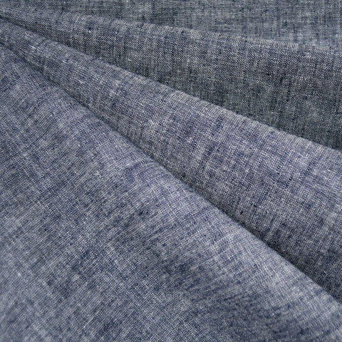 Soft Washed Linen Blend Shirting Navy