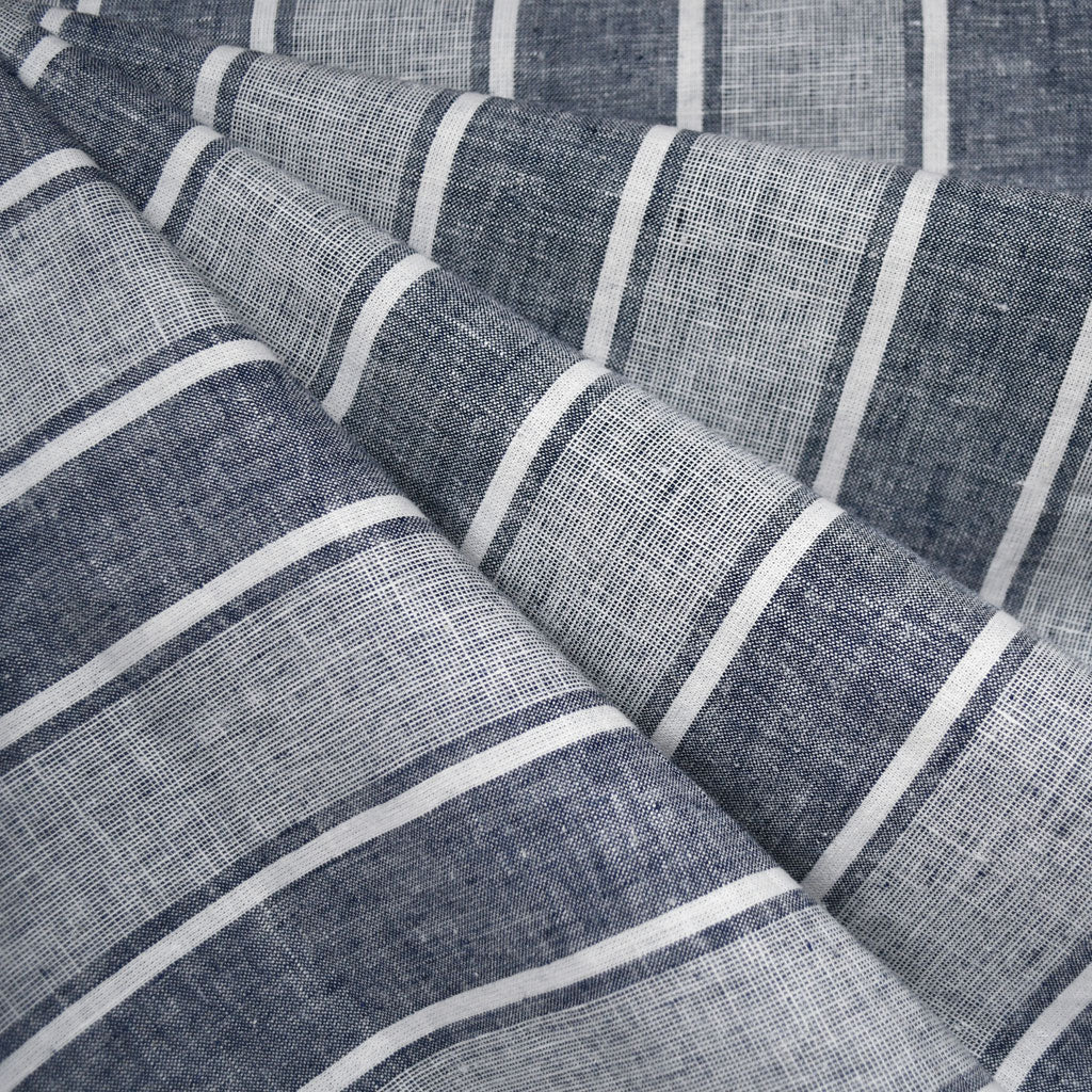 Soft Washed Wide Stripe Linen Blend Shirting Navy - Fabric - Style Maker Fabrics