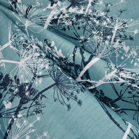 Abstract Burst Floral Linen Shirting Sea Glass/Navy