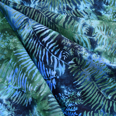 Midnight Fern Rayon Batik Navy/Evergreen - Fabric - Style Maker Fabrics