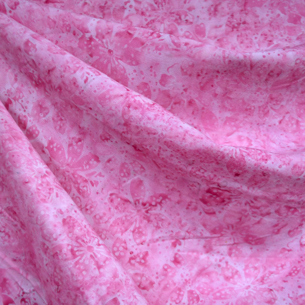 Tonal Garden Floral Rayon Batik Pink SY - Sold Out - Style Maker Fabrics