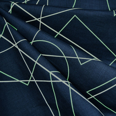 Japanese Geometric Shapes Cotton Lawn Navy
