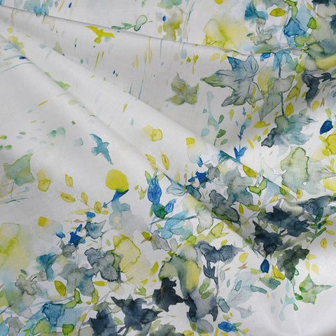 Japanese Digital Print Double Border Watercolor Leaves Lawn Citron