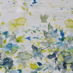 Japanese Digital Print Double Border Watercolor Leaves Lawn Citron - Fabric - Style Maker Fabrics