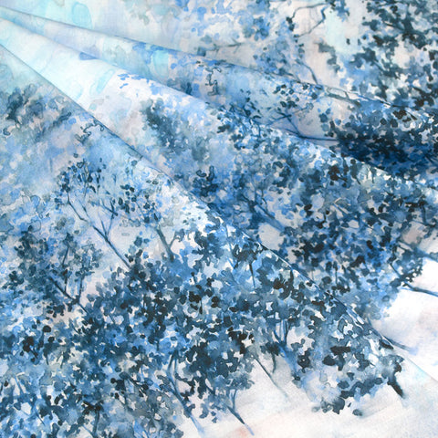 Japanese Digital Print Double Border Watercolor Trees Lawn Blues