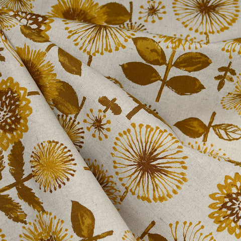 Japanese Brushstroke Sunflower Floral Canvas Mustard