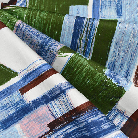 Japanese Modern Sketch Collage Cotton Twill Shirting Blue/Green