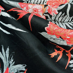 Asian Inspired Floral Linen Shirting Black/Red - Fabric - Style Maker Fabrics