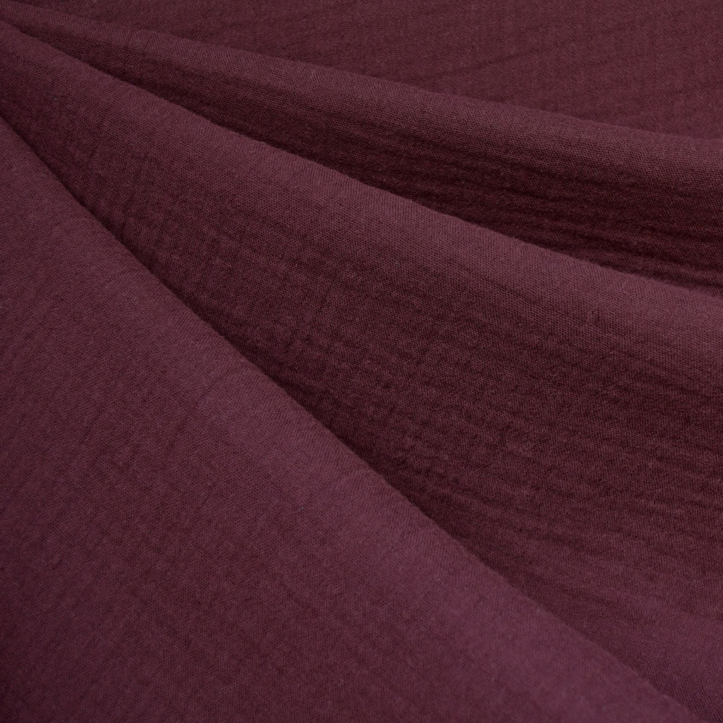 Cotton Double Gauze Solid Burgundy - Fabric - Style Maker Fabrics