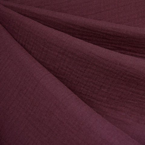 Cotton Double Gauze Solid Burgundy—Preorder