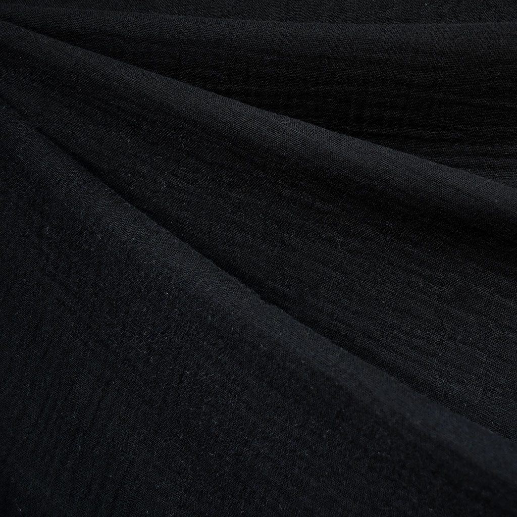 Cotton Double Gauze Solid Black - Fabric - Style Maker Fabrics