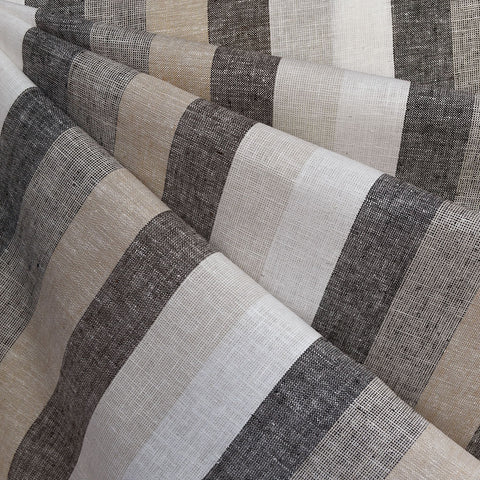 Wide Multi Stripe Linen Blend Shirting Natural