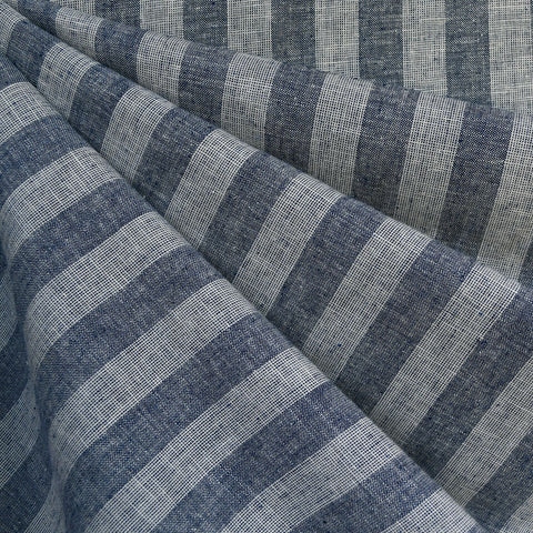 Wide Chambray Stripe Linen Blend Shirting Navy/White