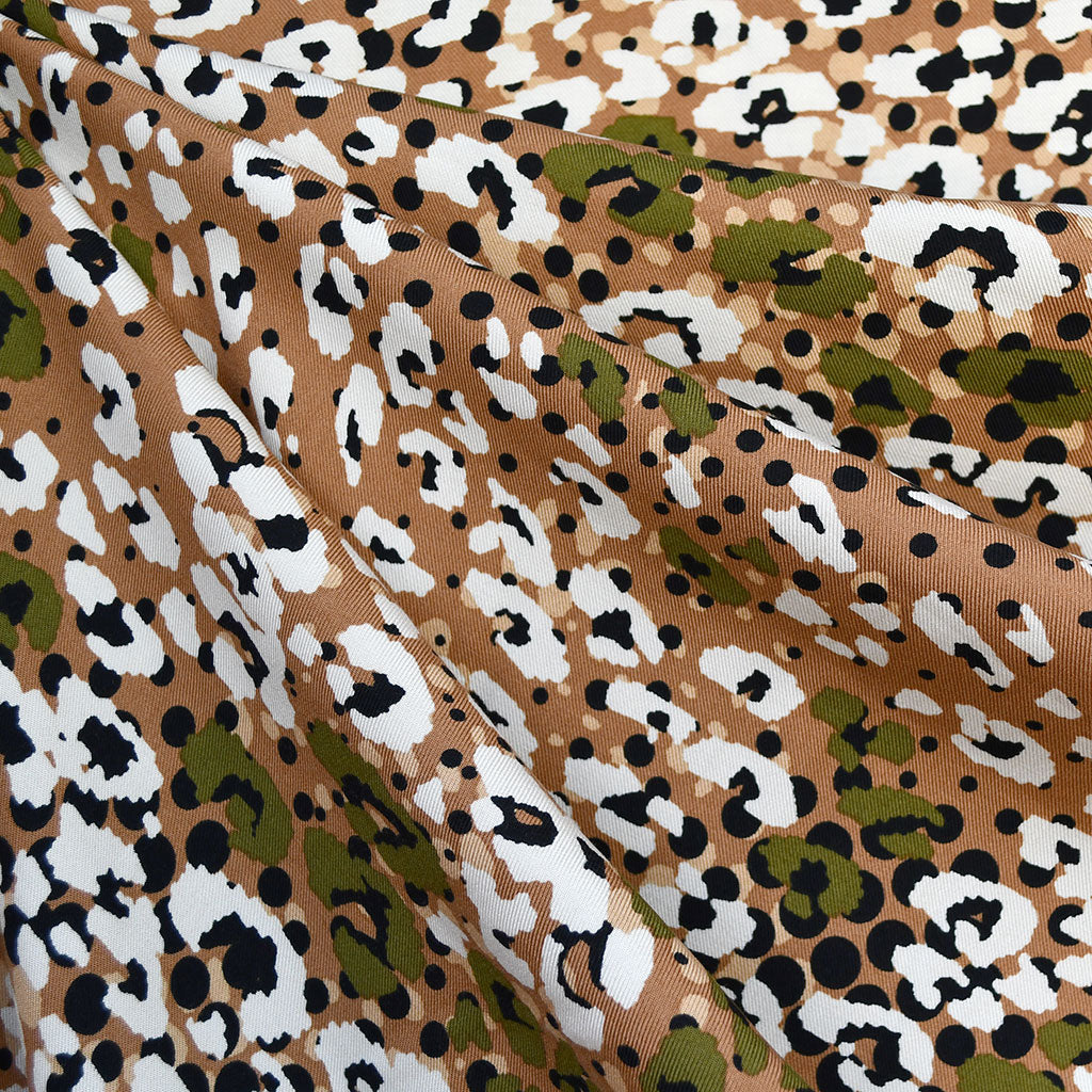 Boho Animal Print Rayon Twill Shirting Brown/Olive - Fabric - Style Maker Fabrics