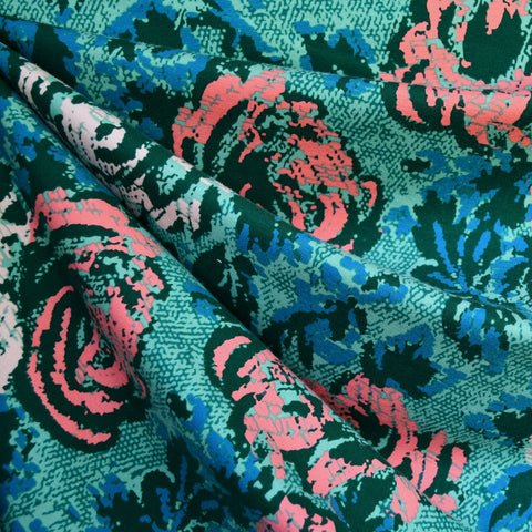 Abstract Rose Print Jersey French Terry Teal/Coral