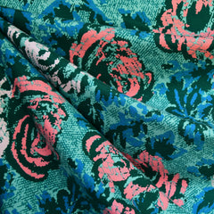 Abstract Rose Print Jersey French Terry Teal/Coral - Fabric - Style Maker Fabrics